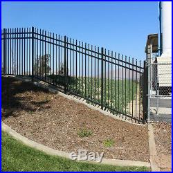 3-Rail Steel Fence Kit Powder-Coated 6.5 Ft Wide 5 Ft High Yard Fencing Panel