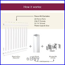 4-in-1 Vinyl Fence Kit, White Traditional Rail Kit driveway accent Deck Railing
