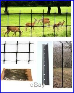 Deer Fence Kit 165 Ft Netting, Steel Posts, and Cable Ties. Garden Fencing