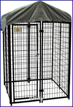 Dog Fence Kennel Kit Pets Welded Wire Waterproof Cover Galvanized Steel