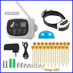FOCUSER Electric Wireless Dog Fence System, Pet (1 Collar Kit +20 Flags)