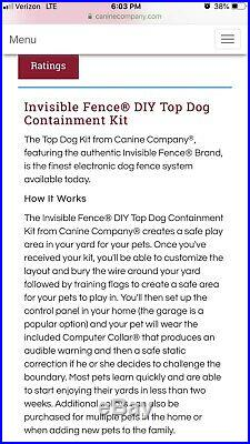Invisible Fence Top Dog Kit, Never Used, Never Opened. Plus 4 New Batteries