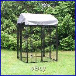 Welded Wire Dog Fence Shelter Kennel Kit Black Powder Coated Home 4 x 4 x 6 ft