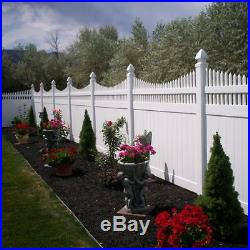 White Halifax 6 ft. H x 8 ft. W Vinyl Privacy Fence Unassembled Panel Kit
