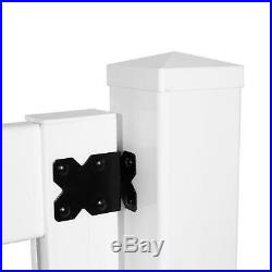 White Vinyl Dover Privacy Fence Gate Kit UV Protected Unassembled Panel Flat Top