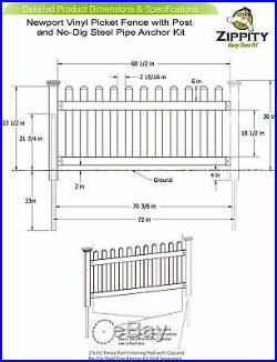 White Vinyl Picket Fence Panel Kit Pipe Post Outdoor Yard Garden 36x72in No Dig